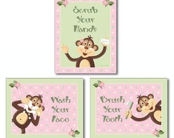 Jungle Monkey Set of 3 Girls Bathroom Prints WASH YOUR HANDS