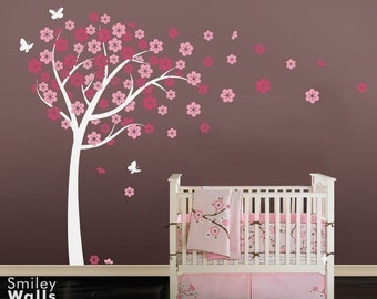 Cherry Blossom Tree Wall Decal, Blooming Cherry Tree with Butterflies Nursery Vinyl Wall Decal, Flowers Tree Wall Decal for Baby Room Decor