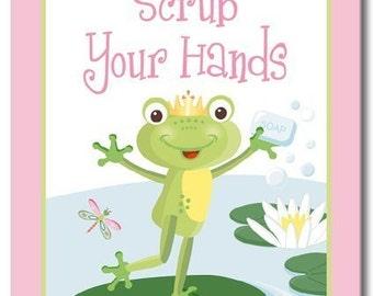 Pink Froggy Frog Set Of 3 Kid's Bathroom Prints