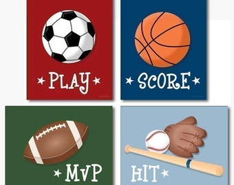 Sports Wall Art For Nursery Baby Room, Baby Room Wall Art Prints, Kids Wall