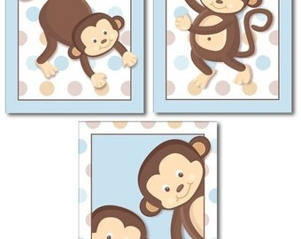 Set of 3 Blue Pop Monkeys Nursery Decor Art Prints