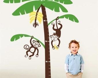 Jungle Monkeys Nursery Growth Chart - Vinyl Wall Decal