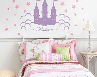 Castle Wall Decal Fairy Princess Castle Personalized Lettering Vinyl Wall Decal Sign for Girls, Kids Room decor sticker Vinyl wall decal art
