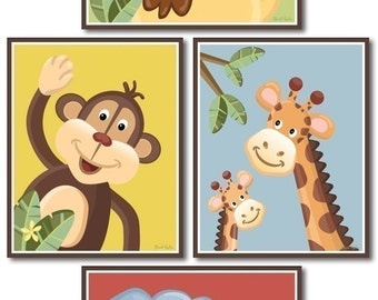Jungle Safari Art Prints for Nursery Baby Room Set of 4 Nursery Art Prints - Jungle Jingle Animals Wall Art Room Decor
