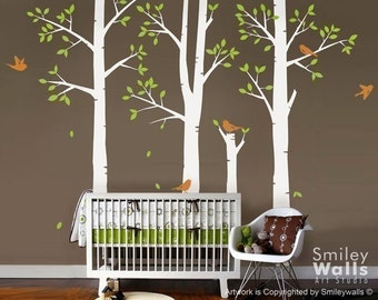 Spring Trees and Birds Vinyl Wall Decal, Birch Trees Nursery Vinyl Wall Decal, Kids Sticker Baby Room Decor wall decal, Trees Sticker
