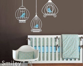 Birdcages Nursery Wall Decals, Birds and Birdcages Wall Decal -GIFT BIRDS -Baby room sticker decal kids room decor art sticker wall decal
