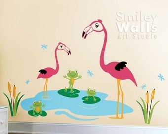 Nursery Vinyl Wall Decal Happy Flamingos and Froggies Dragonflies - Kids Children Wall art decal sticker Room decor Wall sticker Nursery