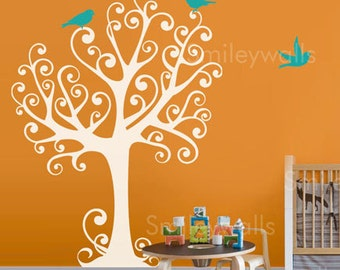 Ornamental Tree with Birds - Large - ON SALE - Vinyl Wall Decal for Nursery Kids Room