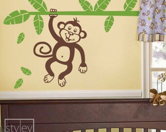 Monkey and Branch Wall Decal, Jungle Monkey Holding Branch with Leaves Vinyl Wall Decal for Kids, Nursery Wall Decal, Kids Room Wall Sticker