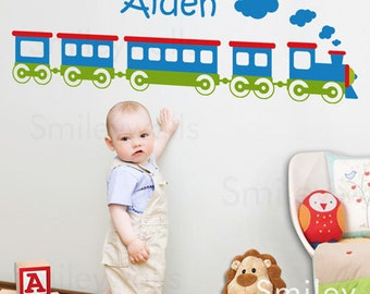Train Wall Decal, Choo Choo Train Personalized Vinyl Wall Lettering Sign Decal for Kids Baby Room Nursery Decor Wall decal Room Sticker