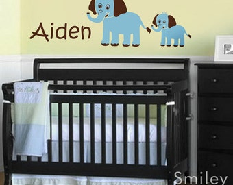 Elephants Wall Decal, Custom Name Decal, Mother and Baby Elephant, Personalized Vinyl Wall Decal Sign for Kids Nursery wall art room decor