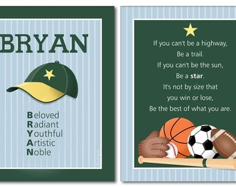Sports Wall Art, Sports Nursery Prints, Boys Room Wall Art, Boys Room Sport Prints, Personalized Wall Art, Name Poem Wall Art, Wall Stickers