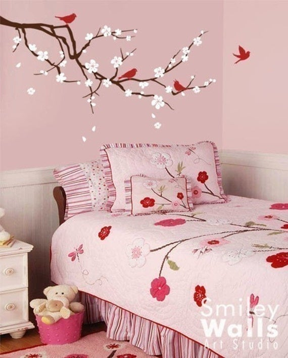 Blossoming Cherry Branch - Three Colors - Vinyl Wall Decal