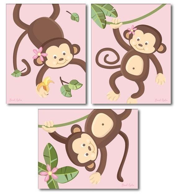 Set of  3 Pink Jungle Monkey Monkeys Nursery Art Prints