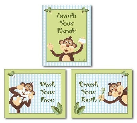 Jungle monkey set of 3 bathroom prints wash your by for Monkey bathroom set