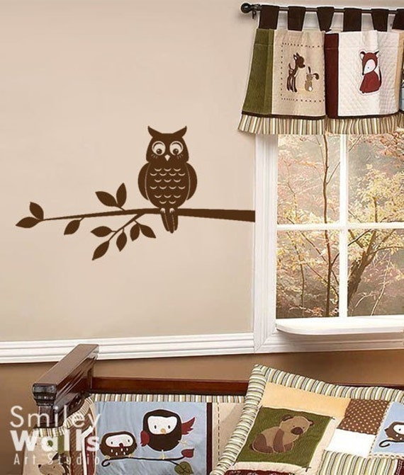 Owl on a Branch Nursery Vinyl Wall Decal, Owl Wall Decal, Owl and Branch Wall Sticker, Owl Branch for Kids Room Decor, Forest Owl Decal