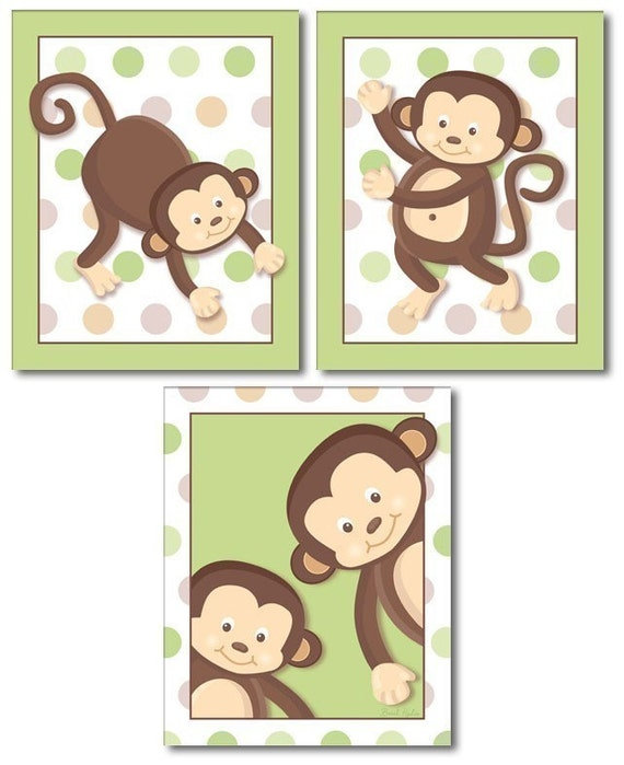 Monkeys Wall Art Nursery Wall Art Set of 3 Monkey Pop Monkeys Nursery Decor Art Prints Monkeys Print Set