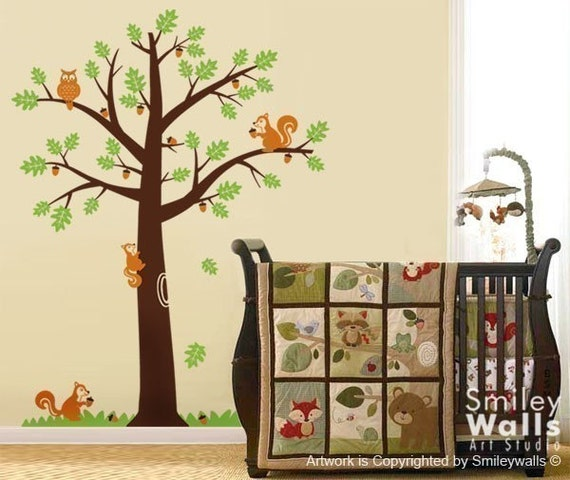 Kids Wall Decal Forest Animals Squirrels Owl on an Oak Tree - Nursery Kids Vinyl Wall Decal Room Art