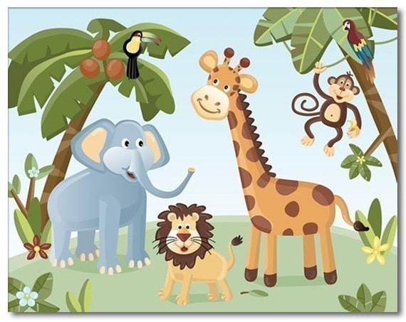 Nursery wall art print Jungle Safari Animals