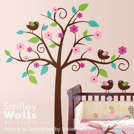 Whimsical Flower Tree Wall Decal, Tree with Love Birds Decal, Nursery Vinyl Wall Decal Art Decor,Tree Wall Decal for Nursery, Tree Sticker