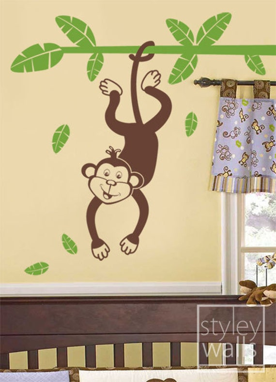 Monkey Wall Decal Vinyl Wall Decal for Kids Jungle Monkey