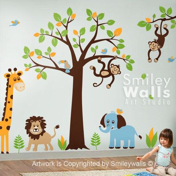 Safari Animals Wall Decal Jungle Wall Decal Monkey Giraffe Elephant Lion Wall Decal Tree Set Nursery Kids Playroom Room Decor Sticker Art