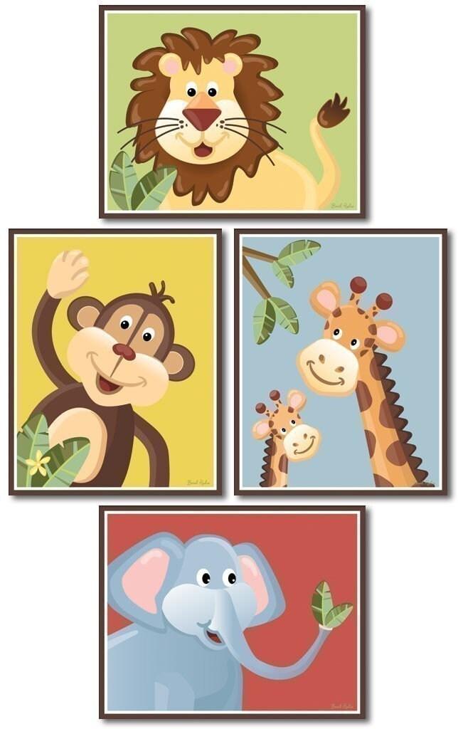 Jungle Safari Art Prints for Nursery Baby Room Set of 4