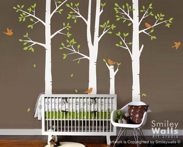 Spring trees and birds vinyl wall decal birch trees nursery for Birch tree mural nursery
