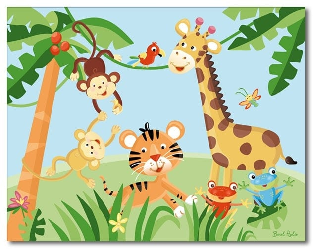 11x14 art print for kids rainforest jungle animals for Childrens jungle print fabric