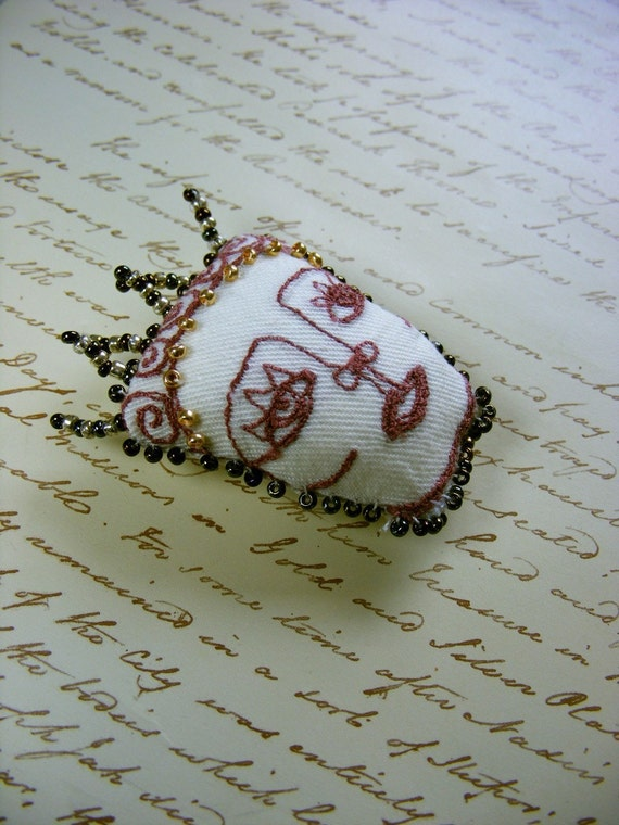 Textile brooch  - Handmade Tiny wearable art - Muse