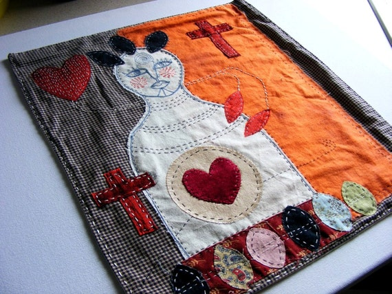 Textile Wall Hanging - Handmade from upcycled fabrics and new - Textile art  - The Guide