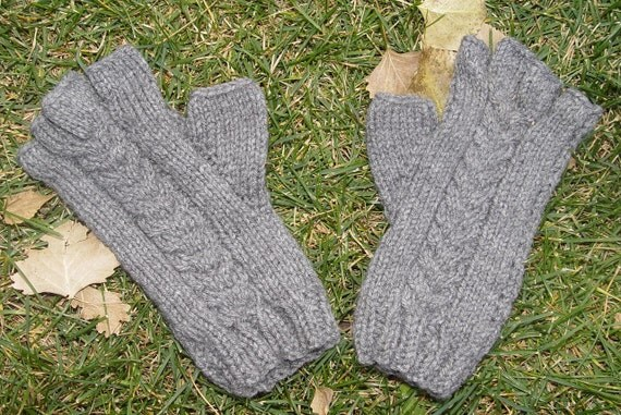 Grey Heather Fingerless Gloves with Cables