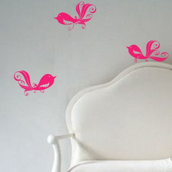 SALE 3 Swirly Birdie Birds Set Vinyl Wall Decals Surface Graphics Design You Choose One Color Per Set FREE SHIPPING