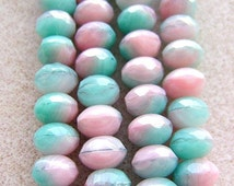 CZECH  GLASS, 8 x 6mm, Gem Cut, Rondelle, Pink, Seafoam Green