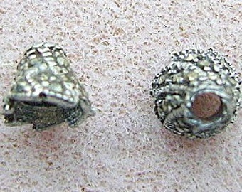 Bead Cap,STERLING, SILVER, MARCASITE  Cone, 2 Pieces, Goth, Bling, I