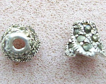 Bead Cap, STERLING, SILVER and MARCASITE  Cone, 2 Pieces, Bling, I