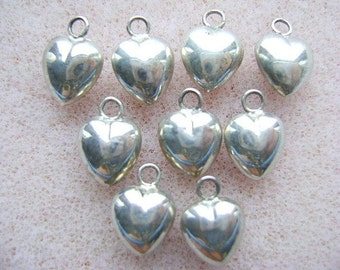 Charm,HEART,Sterling, Silver, Charm, Puffy ,2 Sided