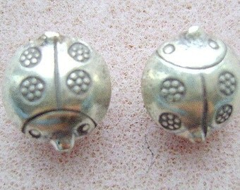 Thai, Pure, Silver, Ladybug, Beads, Garden,