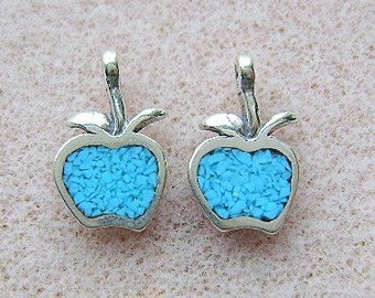Charm, APPLE, Sterling, Silver Turquoise, INLAY,, 5 Piece Lot, Fruit,