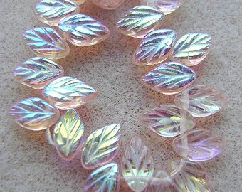 Glass Czech Leaf Beads Rose AB  Textured Floral, , Glass, Leaf, Pendant, C