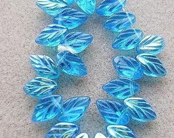 Glass Czech Leaf Beads Capri Blue AB  Textured Floral, , Glass, Leaf, Pendant, 25 Pieces