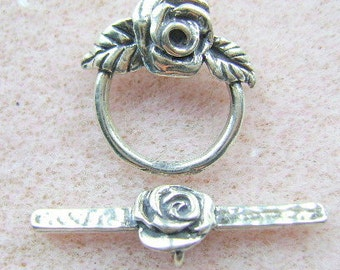 CLASP, STERLING, Silver, 1 Strand, Rose, Large, Toggle, Closure, Made in USA