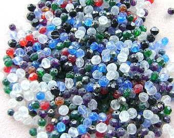 Beads,500 Grams, FACETED, Round, HALF KILO, Beads, Red, Blue, Green, Clear,