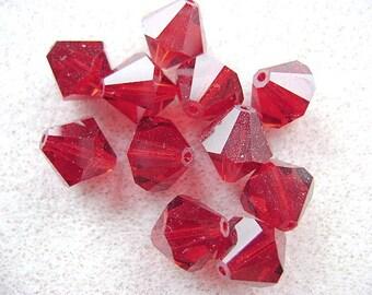 Beads, Swarovski, 10MM,  Bi-Cones,Siam,  Red, Ruby, Diamond, 5301, 10 or 25 Pc Lot