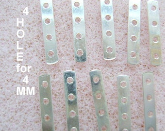Spacer,Sterling, Silver,  Bars, 4 Strand, 4 HOLE,  for 4mm Beads