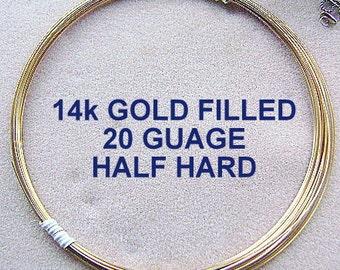 Wire, Round,14k GOLD FILLED,  20 Gauge, 5 feet, Half Hard, USA made