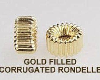14k GOLD FILLED, Rondelle,4 X 3mm,  Corrugated, 25 Pieces, I