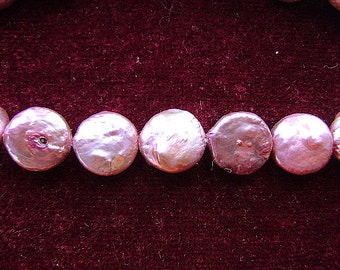 PEARLS, GENUINE, Coin,  Light Mauve, Pink, BRILLIANT,  10-11mm, Side Drill, Flat, Large,16 Inch