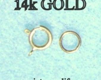 14k Gold 5.5mm Springring Clasp Set  with Soldered Ring, i