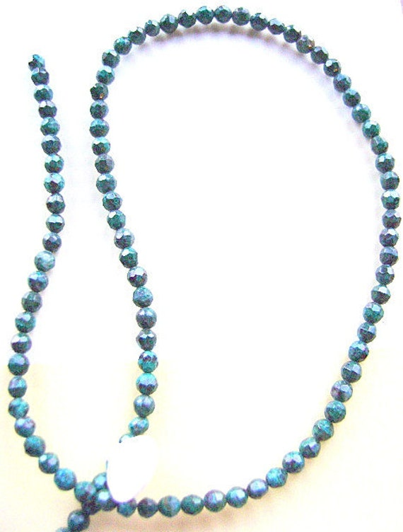Chrysocolla Beads, 4mm, Faceted, Round,  1st Quality, Southwest, Native American